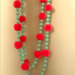 J CREW  Pom Pom Double Strand Beaded Necklace